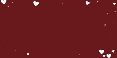 White heart love confettis. Valentine's day vignette popular background. Falling stitched paper hearts confetti on maroon background. Exquisite vector illustration.