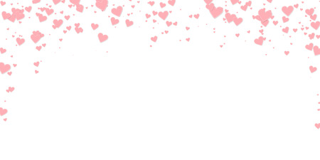 Pink heart love confettis. Valentines day falling rain fabulous background. Falling stitched paper hearts confetti on white background. Ecstatic vector illustration.