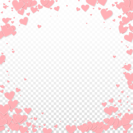 Pink heart love confettis. Valentine's day vignette appealing background. Falling stitched paper hearts confetti on transparent background. Extraordinary vector illustration.