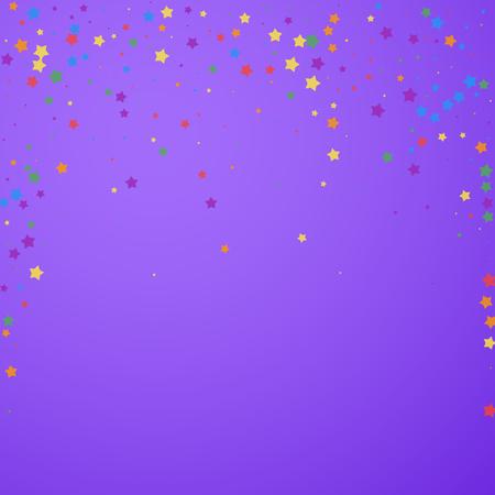 Festive confetti. Celebration stars. Joyous stars on bright purple background. Captivating festive overlay template. Juicy vector illustration.