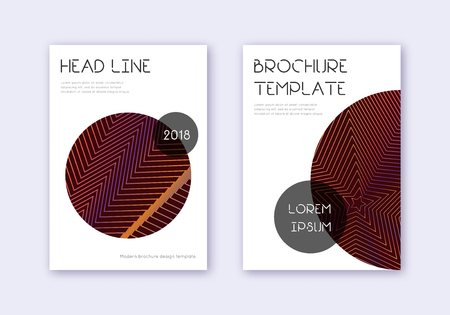 Trendy cover design template set. Orange abstract lines on wine red background. Glamorous cover design. Bewitching catalog, poster, book template etc.