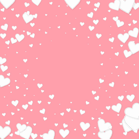 White heart love confettis. Valentine's day vignette captivating background. Falling stitched paper hearts confetti on pink background. Decent vector illustration. 向量圖像