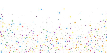 Confeti festivo. Estrellas de celebración. Estrellas alegres sobre fondo blanco. Plantilla de superposición festiva decente. Ilustración vectorial animada.