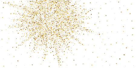 Gold confetti luxury sparkling confetti. Scattered small gold particles on white background. Authentic festive overlay template. Worthy vector illustration.
