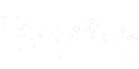 White heart love confettis. Valentine's day falling rain tempting background. Falling stitched paper hearts confetti on white background. Ecstatic vector illustration.