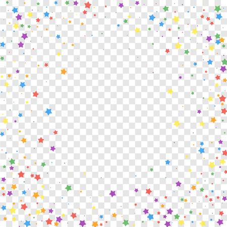 Świąteczne konfetti. Gwiazdy uroczystości. Radosne gwiazdy na przezroczystym tle. Fajny świąteczny szablon nakładki. Fascynująca ilustracja wektorowa.