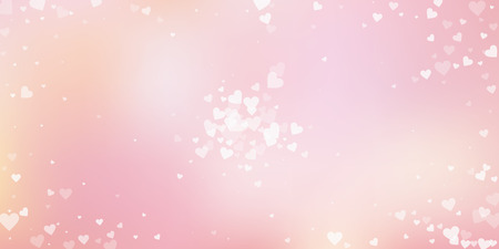 White heart love confettis. Valentine's day explosion appealing background. Falling transparent hearts confetti on soft gradient background. Delightful vector illustration.