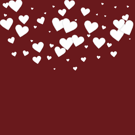 White heart love confettis. Valentine's day semicircle energetic background. Falling stitched paper hearts confetti on maroon background. Dazzling vector illustration. Illustration