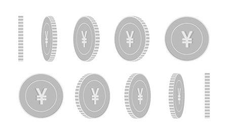 Chinese yuan rotating coins set, animation ready. Black and white CNY silver coins rotation. China metal money. Astonishing cartoon vector illustration. Reklamní fotografie - 116597741
