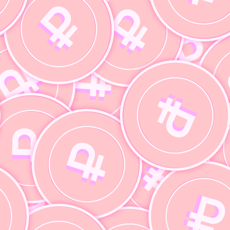 Russian ruble copper coins seamless pattern. Fancy scattered pink RUB coins. Success concept. Russia money pattern. Coin vector illustration.