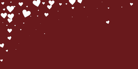 White heart love confettis. Valentines day falling rain favorable background. Falling stitched paper hearts confetti on maroon background. Emotional vector illustration.