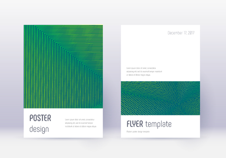 Minimalistic cover design template set. Green abstract lines on dark background. Ecstatic cover design. Optimal catalog, poster, book template etc.
