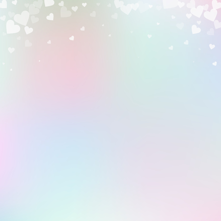 White heart love confettis. Valentines day gradient graceful background. Falling transparent hearts confetti on gentle background. Exotic vector illustration. 向量圖像