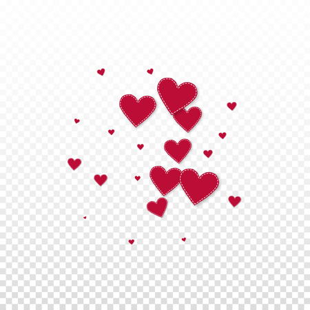 Red heart love confettis. Valentines day explosion surprising background. Falling stitched paper hearts confetti on transparent background. Comely vector illustration.