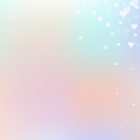 White heart love confettis. Valentine's day corner pleasing background. Falling transparent hearts confetti on soft background. Eminent vector illustration.
