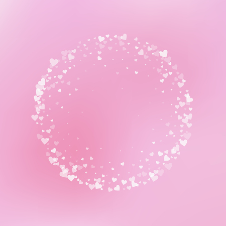 White heart love confettis. Valentines day frame fresh background. Falling transparent hearts confetti on gradient background. Energetic vector illustration.