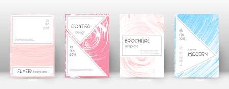 Cover page design template. Stylish brochure layout. Charming trendy abstract cover page. Pink and blue grunge texture background. Fascinating poster. Ilustração