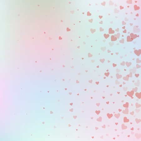 Red heart love confettis. Valentine's day gradient exquisite background. Falling transparent hearts confetti on subtle background. Excellent vector illustration.