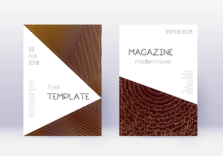 Triangle cover design template set. Gold abstract lines on maroon background. Impressive cover design. Delightful catalog, poster, book template etc.
