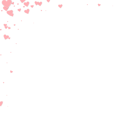 Pink heart love confettis. Valentine's day corner optimal background. Falling stitched paper hearts confetti on white background. Delicate vector illustration.