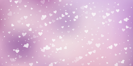 White heart love confettis. Valentine's day falling rain artistic background. Falling transparent hearts confetti on color transition background. Enchanting vector illustration.