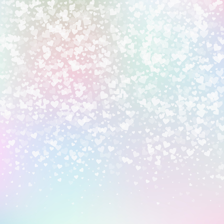 White heart love confettis. Valentine's day gradient enchanting background. Falling transparent hearts confetti on gentle background. Cute vector illustration.