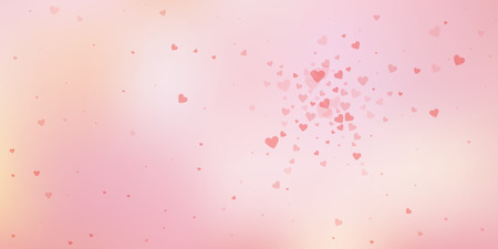 Red heart love confettis. Valentine's day explosion favorable background. Falling transparent hearts confetti on delicate background. Divine vector illustration.