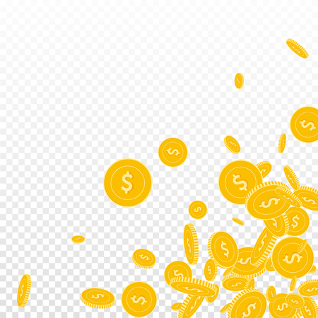 American dollar coins falling. Scattered floating USD coins on transparent background. Valuable scattered bottom right corner vector illustration. Jackpot or success concept. Vecteurs