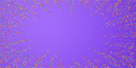 Festive confetti. Celebration stars. Colorful confetti on bright purple background. Ecstatic festive overlay template. Splendid vector illustration.