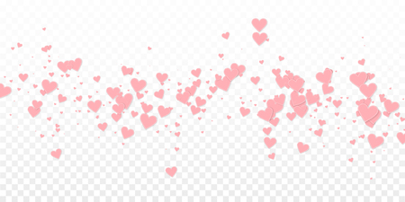 Pink heart love confettis. Valentines day falling rain stylish background. Falling stitched paper hearts confetti on transparent background. Ecstatic vector illustration.