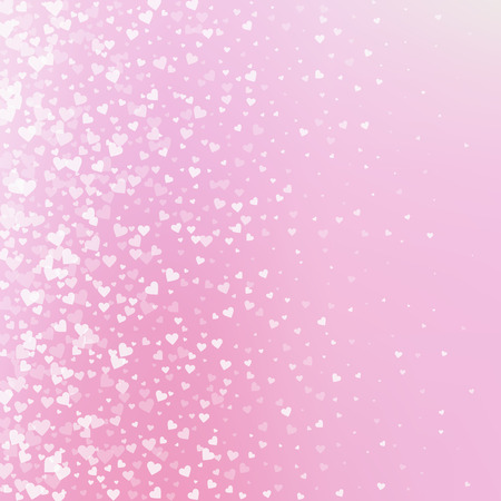 White heart love confettis. Valentine's day gradient worthy background. Falling transparent hearts confetti on soft background. Excellent vector illustration.