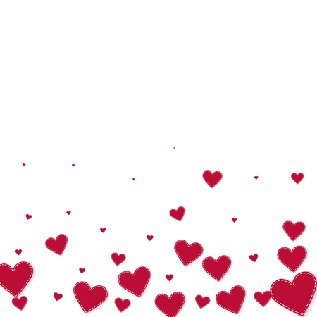 Red heart love confettis. Valentine's day gradient fascinating background. Falling stitched paper hearts confetti on white background. Cute vector illustration.