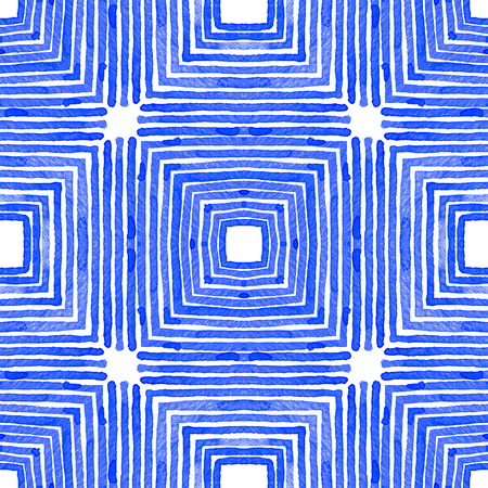 Blue Geometric Watercolor. Cute Seamless Pattern. Hand Drawn Stripes. Brush Texture. Overwhelming Chevron Ornament. Fabric Cloth Swimwear Design Wallpaper Wrapping.