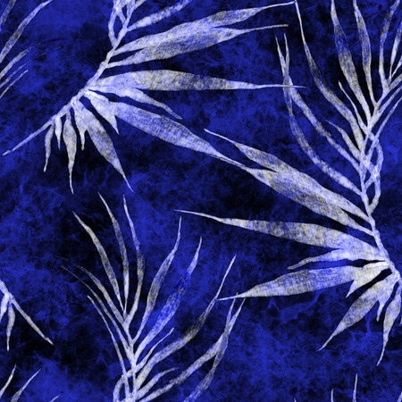 Tropical seamless pattern. Watercolor curved palm leaves, japanese bamboo. Blue exotic swimwear design. Summer tropic repeated print. Alluring textile illustration.