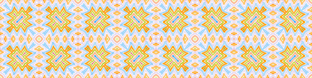 Colorful Seamless Border Scroll. Geometric Watercolor Frame. Alive Seamless Pattern. Medallion Repeated Tile. Great Chevron Ribbon Ornament.