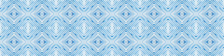 Blue Seamless Border Scroll. Geometric Watercolor Frame. Adorable Seamless Pattern. Medallion Repeated Tile. Quaint Chevron Ribbon Ornament.