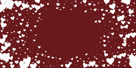 White heart love confettis. Valentine's day vignette good-looking background. Falling stitched paper hearts confetti on maroon background. Extraordinary vector illustration.