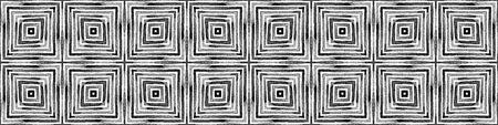 Dark black and white Seamless Border Scroll. Geometric Watercolor Frame. Alluring Seamless Pattern. Medallion Repeated Tile. Beauteous Chevron Ribbon Ornament.