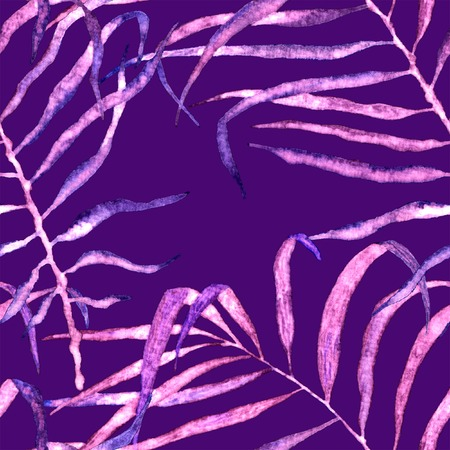 Tropical seamless pattern. Watercolor swaying palm leaves, japanese bamboo. Purple exotic swimwear design. Summer tropic repeated print. Resplendent textile illustration.