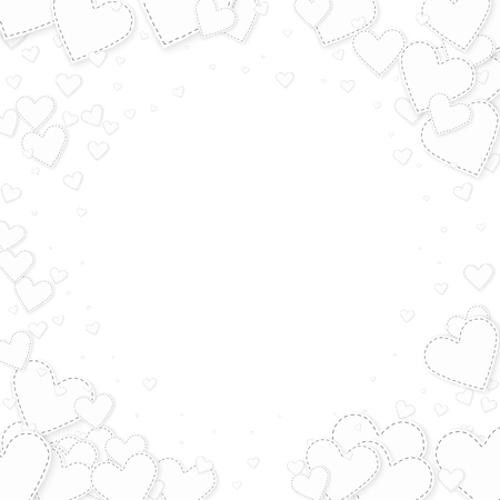 White heart love confettis. Valentine's day vignette stunning background. Falling stitched paper hearts confetti on white background. Extraordinary vector illustration.