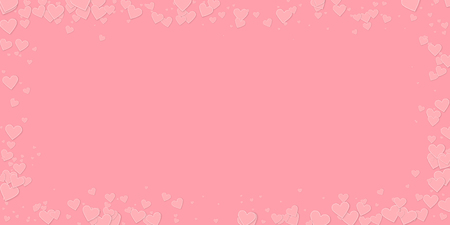 Pink heart love confettis. Valentines day frame grand background. Falling stitched paper hearts confetti on pink background. Energetic vector illustration.