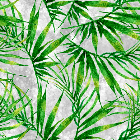 Tropical seamless pattern. Watercolor chaotic palm leaves, japanese bamboo. Green exotic swimwear design. Summer tropic repeated print. Resplendent textile illustration. Stock Photo