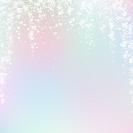 White heart love confettis. Valentines day falling rain brilliant background. Falling transparent hearts confetti on gentle background. Creative vector illustration.