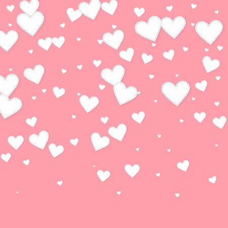 White heart love confettis. Valentine's day gradient captivating background. Falling stitched paper hearts confetti on pink background. Cute vector illustration. Vettoriali