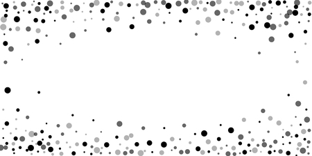 Scattered random black dots. Dark points dispersion on white background. Breathtaking grey spots dispersing overlay template. Perfect vector illustration.