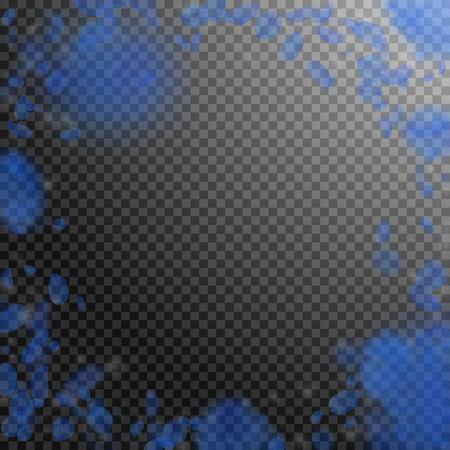 Dark blue flower petals falling down. Splendid romantic flowers vignette. Flying petal on transparent square background. Love, romance concept. Creative wedding invitation.