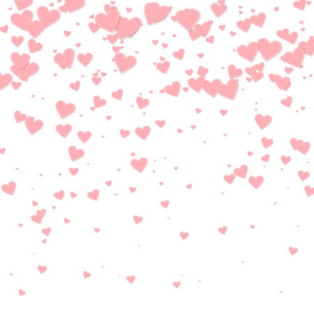 Pink heart love confettis. Valentines day gradient sublime background. Falling stitched paper hearts confetti on white background. Exotic vector illustration.