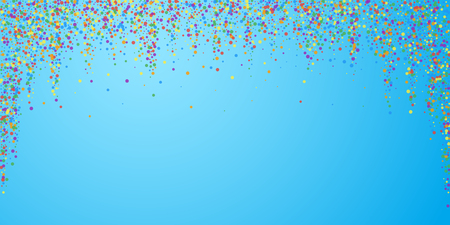 Festive confetti. Celebration stars. Joyous confetti on blue sky background. Dazzling festive overlay template. Sublime vector illustration. Illusztráció
