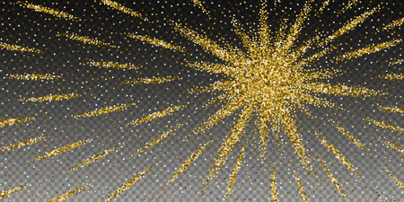 Gold triangles glitter luxury sparkling confetti. Scattered small gold particles on transparent background. Authentic festive overlay template. Enchanting vector illustration. Banque d'images - 125050758