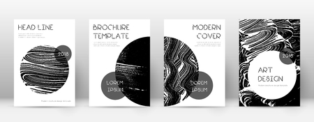 Cover page design template. Trendy brochure layout. Classic trendy abstract cover page. Black grunge texture background. Alluring poster.